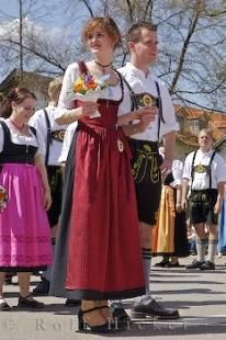 Dirndls and Lederhose are typical German European costumes worn by the Bavarian people in Putzbrunn, Germany.