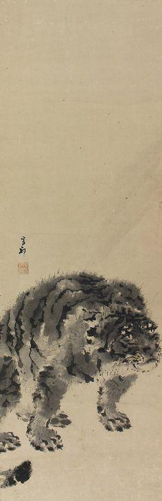 Tiger by Ganku (1756 - 1839). Japanese hanging scroll painting Kakejiku.