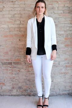 Whitney Boyfriend Blazer - White #3/4-sleeve #affordable #affordable-white-blazer