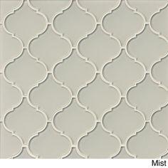 Bedrosians Mallorca Collection Glass Arabesque Mosaic Cliff Tile (Box of 11 Sheets) (Mist), Beige Off-White