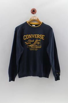 CONVERSE All Star Unisex Pullover Sweatshirt Medium Vintage Yellow  Converse b674d5222677