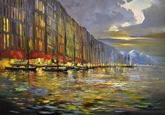 Obecnie na aukcjach Andrzej Gudanski - Night on the Thames Ed Fairburn, Auction, Night, Canvas, Unique, Painting, Art, Tela, Art Background