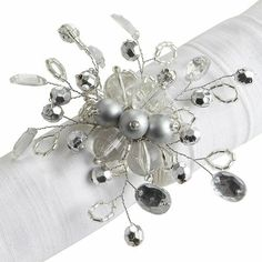 Beaded Napkin Ring - Silver