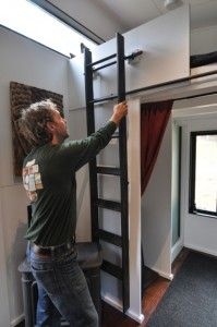 We needed a safe and inexpensive option when creating our loft ladder. Here we share how to make a ridiculously easy loft ladder for tiny houses. House Ladder, Tiny House Stairs, Shed To Tiny House, Tiny House Loft, Tiny House Storage, Loft Stairs, Tiny House Trailer, Tiny House Plans, Tiny House Design
