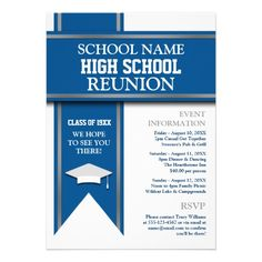 Custom School Colors Banner Custom Class Reunion Invite created by This invitation design is available on many paper types and is completely custom printed. Invitation Paper, Custom Invitations, Party Invitations, Invites, 10 Year Reunion, School Reunion, Law School, Class Reunion Invitations, School Colors