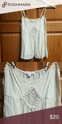 Coco + Jameson cream tanktop Adorable cream tank with adjustable straps. Worn once beautiful detailing. Lace center diamond. EXCELLENT condition Buckle Tops Tank Tops