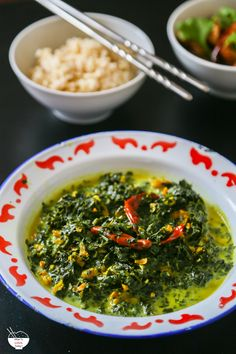 Stewed pounded cassava leaves in coconut milk