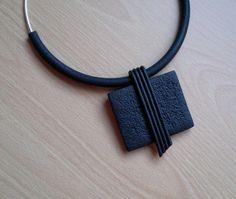 Black Polymer Clay Pendant by IlianaTosheva on Etsy