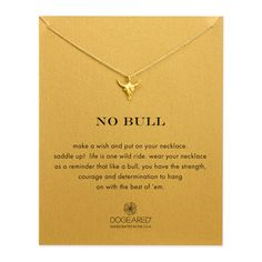 no bull, bull skull necklace, gold dipped - Dogeared