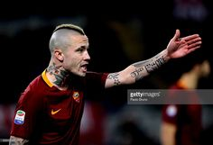 Radja Nainggolan of AS Roma gestures during the Serie A match between AS Roma and Cagliari Calcio at Stadio Olimpico on January 22, 2017 in Rome, Italy.