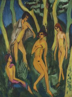 Ernst Ludwig Kirchner  Vier Akte unter Bäumen (Four Nudes under Trees)  oil on canvas  Painted in 1913.