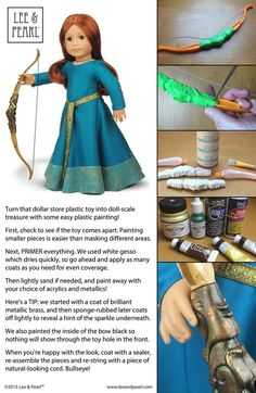 """SCOTTISH PRINCESS BOW TUTORIAL: At Lee & Pearl, we LOVE turning inexpensive plastic toys into fabulous 18"""" / American Girl doll scale treasures like this bow for our Disney Princess Merida-inspired Scottish Princess to wear with the gown we made using Lee & Pearl Pattern 3001: A Medieval Lady's Wardrobe for 18"""" Dolls, in our Etsy store at https://www.etsy.com/listing/210801214/lp-pattern-3001-a-late-medieval-ladys"""