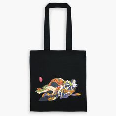 Original Japanese Art Ukiyo-e Tote Bag - Cat Lovers Present Day, Love Letters, Japanese Art, Cat Lovers, Reusable Tote Bags, The Originals, Cats, Cotton, Stuff To Buy