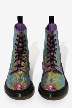 Doc Martens Pascal 8-Tie Boot - Iridescent | Shop Shoes at Nasty Gal