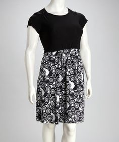 Take a look at this Black Circles Plus-Size Dress by Buy in America on #zulily today!
