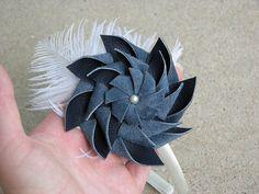 Blue Leather Flower Pinwheel Headband with di TouchOfAWeepingAngel, $55,00