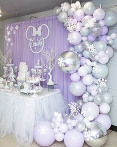 How beautiful is the setup you alway amaze me with your work 😍😍😍 balloons done by me Event Styled by… Lavender Baby Showers, Baby Shower Purple, Baby Girl Shower Themes, Girl Baby Shower Decorations, Baby Shower Winter, Birthday Party Decorations, Birthday Parties, Party Themes, Purple Party Decorations