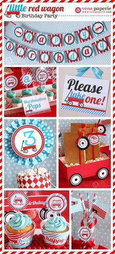 Radio Flyer Red Wagon Party Package Personalized by venspaperie, $35.00