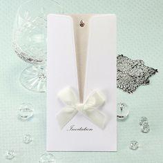 Ivory Pocket Ribbon Dress Wedding Invitations - IP 5915 | ItsInvitation