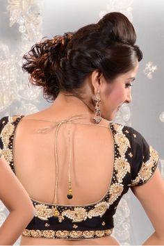 #Black raw #silk Thread & Sequiens worked #blouse -BL417