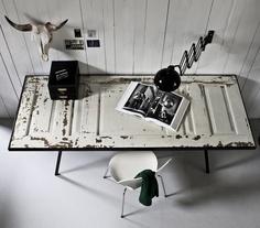 Door upcycled to desk