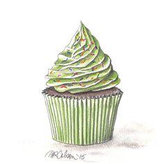 Cupcake Print, Watercolor, Cupcake Art, 5x7, 8x10, 11x14, 13x19, Cupcake with Green Icing, Sprinkles, Kitchen Art, Cafe Art, Bakery Art