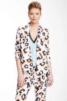 L.A.M.B. Silk Leopard Print Blazer