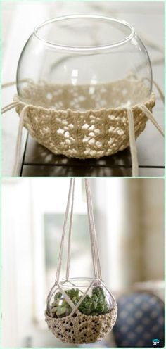 Knitted Terrarium Hanger Pot Cozy Free Pattern - Crochet Plant Pot Cozy Free Patterns - The Crocheting PlaceKnitted Terrarium Hanger Free Pattern - 13 Easy, Cute and Free Crochet Patterns for Summer Season I hope you have enjoyed this beautiful crochet, t Crochet Diy, Crochet Home Decor, Crochet Gifts, Crochet Ideas, Yarn Projects, Crochet Projects, Macrame Projects, Crochet Plant Hanger, Plant Hangers