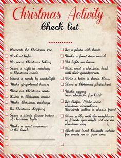 Activity Christmas Checklist