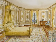 Interior - Bedroom Illustration - Watercolor Another, just a princess daydream to help me sleep at night. :)