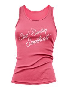Start Sweating SWEETHEART Blk-Wht or Pink Ink by TheFitnessTeeCo