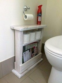 Using a wood pallet to create small bathroom storage ideas is a clever way to add character and rustic beauty to your bathroom. Pallet Bathroom, Bathroom Rack, Bathroom Ideas, Bathroom Furniture, Furniture Vanity, Office Bathroom, Gold Bathroom, Downstairs Bathroom, Organized Bathroom