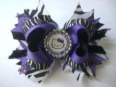 Purple Zebra Stripes | Black and purple zebra stripe hello kitty bow