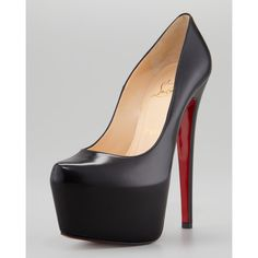 Christian Louboutin Daffodile Platform Red Sole Pump, Black ($1,075) ❤ liked on Polyvore