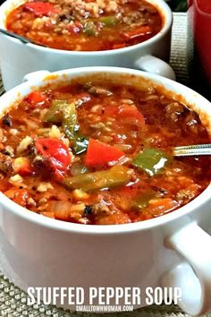 Cajun Delicacies Is A Lot More Than Just Yet Another Food Stuffed Pepper Soup Stuffed Pepper Soup Recipe Bell Pepper Soup Stuffed Green Pepper Soup Recipe Soup With Bell Peppers Deconstructed Bell Pepper Soup Dinner Pepper Soup Small Town Woman Best Soup Recipes, Healthy Recipes, Healthy Soup, Healthy Options, Delicious Recipes, Keto Recipes, Cabbage Roll Soup, Quick And Easy Soup, Stuffed Green Peppers