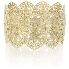 OASIS Lace Flower Stretch Bracelet (£10) ❤ liked on Polyvore featuring jewelry, bracelets, accessories, bijoux, metallics, flower jewellery, stretch jewelry, flower jewelry, lace jewelry and matte gold jewelry
