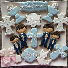 55 Ideas Baby Boy Baptism Cookies First Communion Boy Communion Cake, First Holy Communion Cake, Communion Favors, First Communion For Boys, Communion Centerpieces, First Communion Decorations, Baby Shower Centerpieces, Baby Shower Favors, Baby Shower Decorations