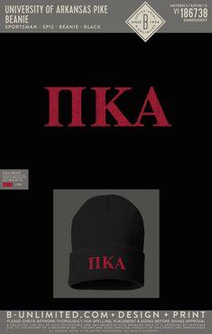 Pi Kappa Alpha Beanie PR   Fraternity Event   Greek Event #pikappaalpha #pike #pka Pi Kappa Alpha, University Of Arkansas, Henleys, Fraternity, Beanies, All Design, Greek, Embroidery, Shit Happens