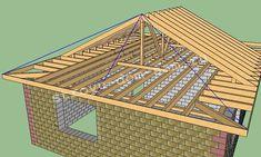 Конструкция вальмовой крыши с опиранием стропил на балки перекрытия. | ГЛАВНАЯ Roof Trusses, Island Tour, Cabin Homes, Diy Wood Projects, Under Construction, My House, House Plans, House Design, Building