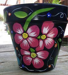 Flower pot, hand painted clay pot, pottery, Italian clay pot, planter, garden… Más