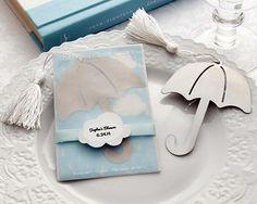 """""""It's Raining Love"""" Umbrella-Shaped, Tasselled Bookmark"""