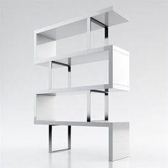 Modloft Modular 4 Shelf Pearl Bookcase in White Lacquer