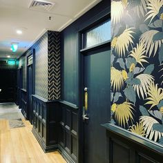 2 contrasting patterns but by using the same colours and the same materials it looks stunning. This was an installation we completed at a Brisbane bar in FortitudeValley Brisbane Bars, Commercial Wallpaper, How To Install Wallpaper, House Painter, Home Wallpaper, Gold Coast, Pattern Wallpaper, Interior Styling, Colours