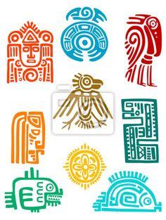 Vector Ancient maya elements and symbols set of religious design. Vector illustationAncient maya elements and symbols set of religious design. Arte Tribal, Aztec Art, Ancient Symbols, Ancient Art, Viking Symbols, Egyptian Symbols, Viking Runes, Native Art, Native American Art