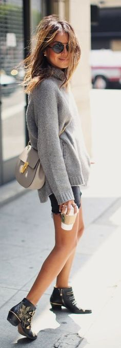 How To Rock A Denim Skirt by Sincerely Jules. Denim Skirt with oversized gray wool sweater.