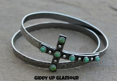Set of 2 Silver Bangles with Turquoise Stud Cross - $38.95