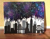 New York City skyline nebula melted crayon art