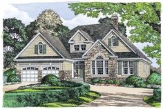 Eplans French Country House Plan - Strong Stone Facade - 1676 Square Feet and 3 Bedrooms(s) from Eplans - House Plan Code HWEPL10869