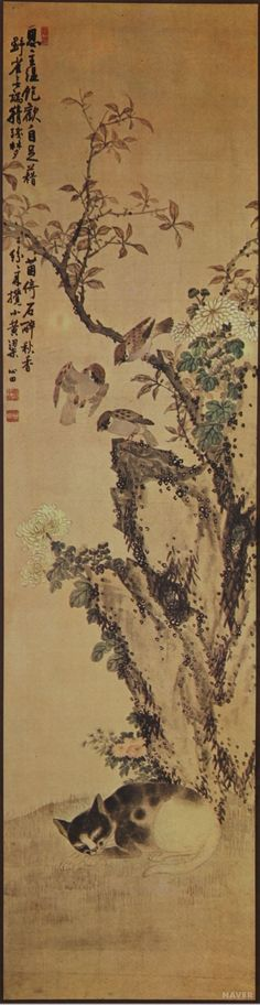 (Korea) 화조도 by Shimjeon An Jung-sik (1861-1919). color on silk. 152×39cm. Private collection.