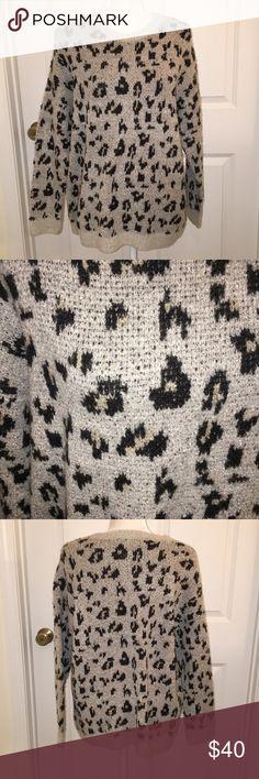 NWT Workshop Republic Gray cat print sweater NWT workshop republic clothing size small gray animal print sweater size small Sweaters Cowl & Turtlenecks
